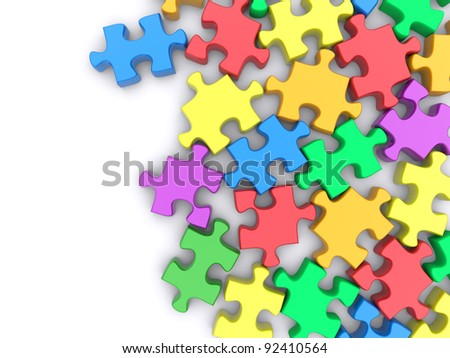 Colored jigsaw puzzle on a white background. 3d rendered image