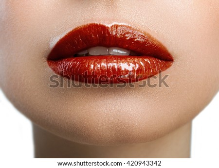 colored lips on a white background - stock photo