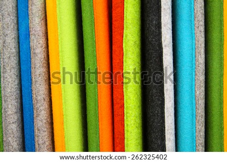 Colored materials made of felt