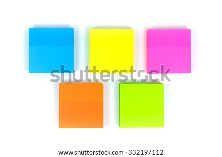 Colored memo notes on white background