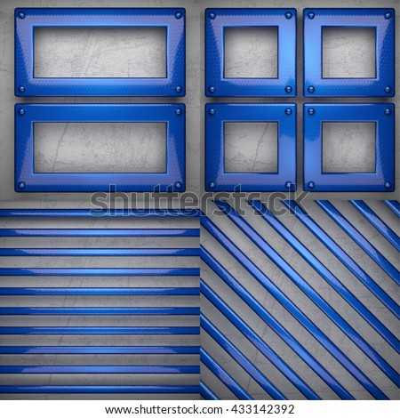 colored metal on concrette wall background set. 3D illustration