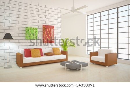 colored modern interior composition - stock photo