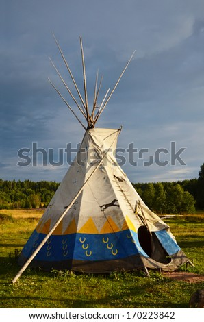Colored National wigwam of American Indians. Outdoor photography - stock photo
