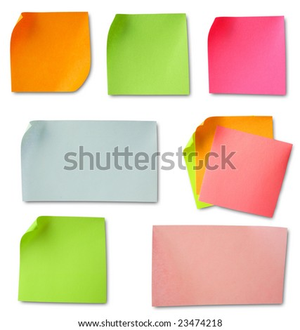 Colored notes paper with soft shadows - stock photo