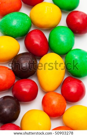 Colored oval candy closeup