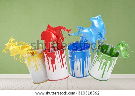 Colored paint buckets splashing paint in a room with wall (3D Rendering) - stock photo