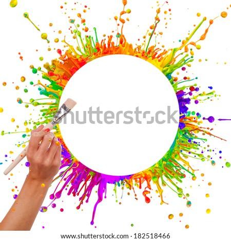 Colored paint splashes in round shape with free space for text in center. Woman hand holding paintbrush. Isolated on white background - stock photo