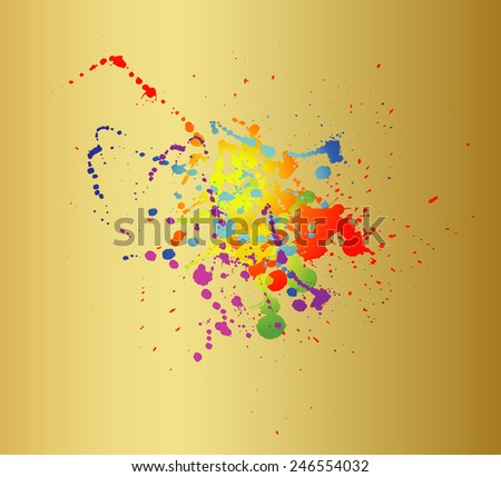 Colored paint splashes isolated on gold background template