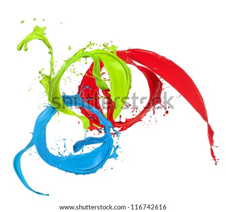 Colored paint splashes rings isolated on white background - stock photo