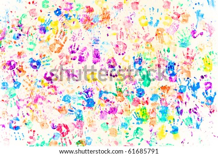 colored painted handprints on white - stock photo