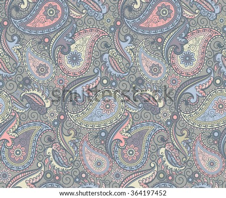 colored paisley pattern - stock photo