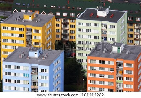 colored panel houses - stock photo