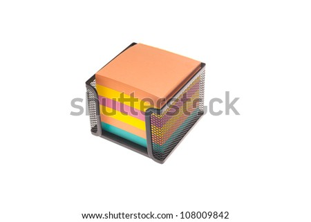 Colored paper cube for notes - stock photo