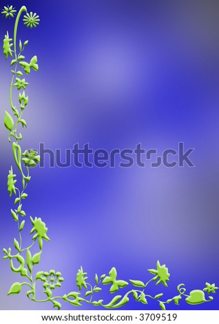 Colored paper with abstract floral border - stock photo