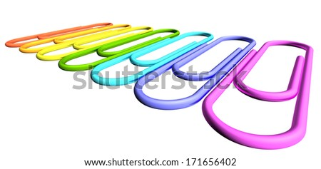Colored paperclips laid out in a line isolated on white background closeup perspective view