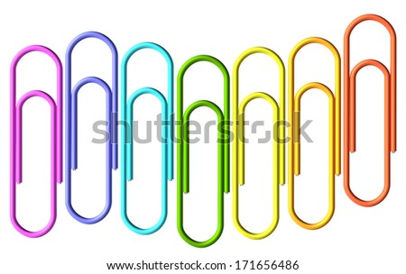 Colored paperclips laid out in the shape of a wave, clips set isolated on white background