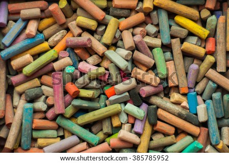 colored pastel chalks. Box artist with a palette of pastel colored chalk. Soft Pastel background. Soft pastel for artists. - stock photo