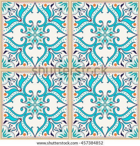 Colored pattern with Portuguese tiles, Azulejo, Talavera, Moroccan ornaments