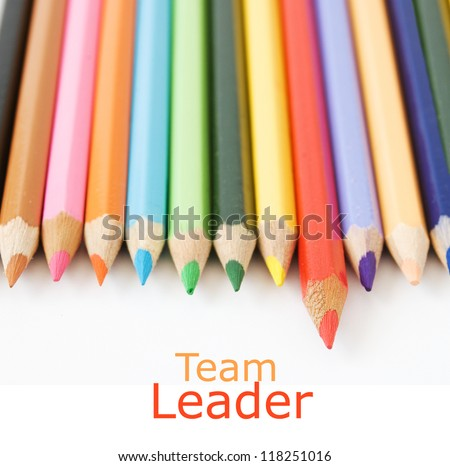Colored pencil isolated on white background. Team leader concept - stock photo