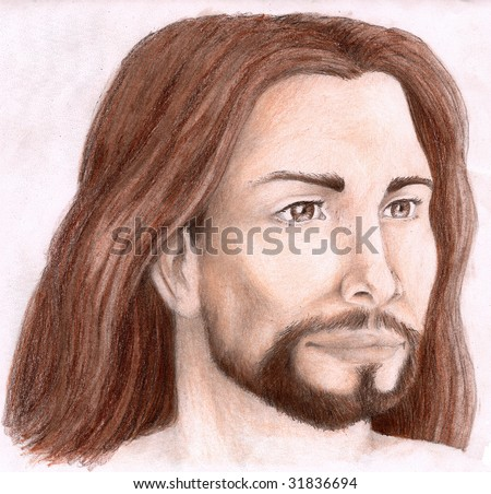 Colored Pencil Sketch of Christ, looking to the left side - stock photo
