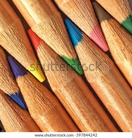 Colored pencil with great colors and detail - stock photo
