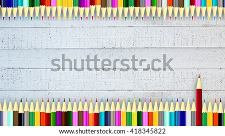 Colored pencils background: color pencils on wood texture background with colored pencils concept, colored pencils background for business and presentation background colored pencils business school