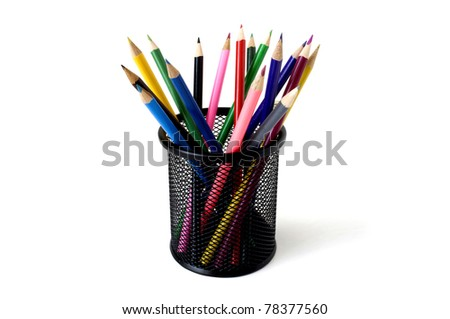 colored pencils in a glass isolated on white background - stock photo