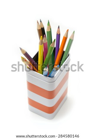 Colored Pencils Inside The Box - stock photo