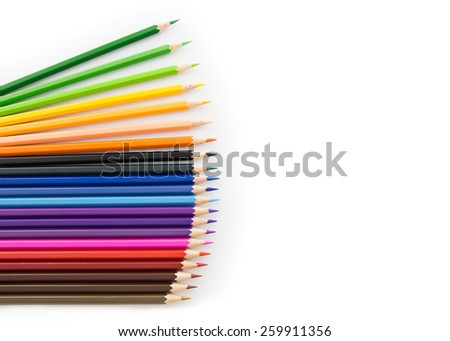 Colored pencils isolate on white background