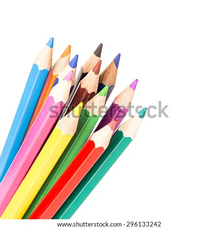 Colored pencils isolated - stock photo