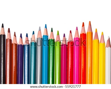 colored pencils - isolated on the white background - stock photo