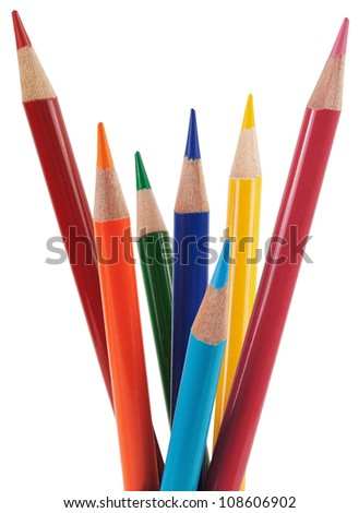 Colored pencils. Objects are isolated on a white background without shadows.
