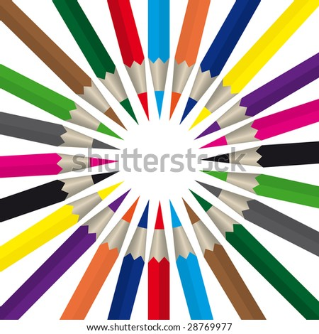 colored pencils on a white background, raster - stock photo