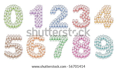 colored people numbers 0 to 9