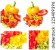Colored Peppers collage - stock photo