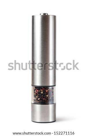 Colored Peppers Mix and pepper grinder on white background - stock photo