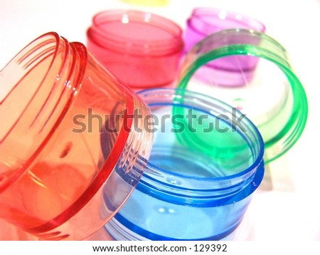 colored pill caddies - stock photo