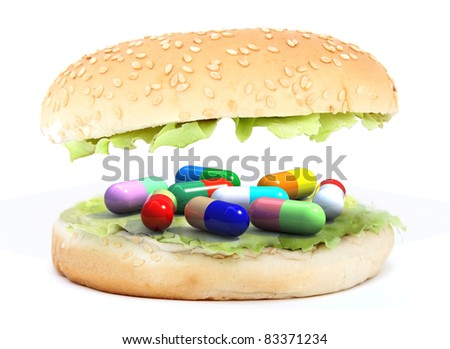 colored pills in the sandwich, food chemist concept, 3d illustration - stock photo