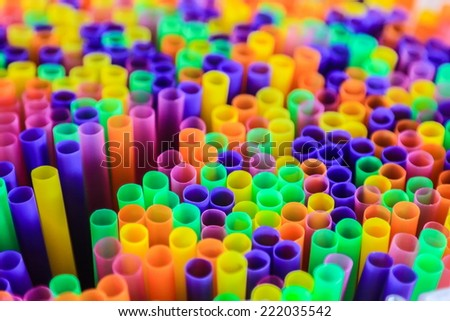 Colored Plastic Drinking Straws closeup, macro  - stock photo