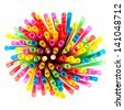 Colored plastic drinking straws on a white background - stock photo