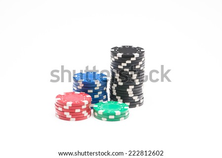 Colored poker chips isolated on white background
