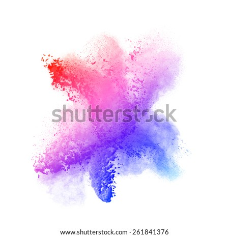 Colored powder isolated on black background close up - stock photo