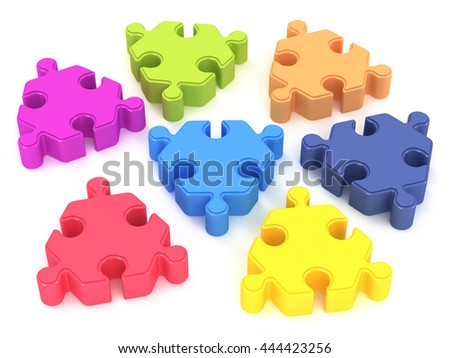 Colored puzzles on a white background 3d. 3d render illustration.