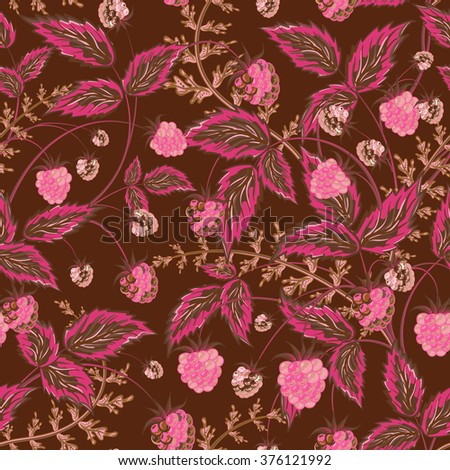 Colored raspberries seamless pattern. Seamless pattern with colored hand draw graphic pink brown raspberries and leaves.  illustration. - stock photo