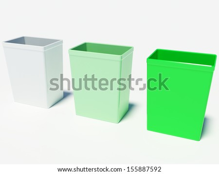 Colored recycling bins on the white background
