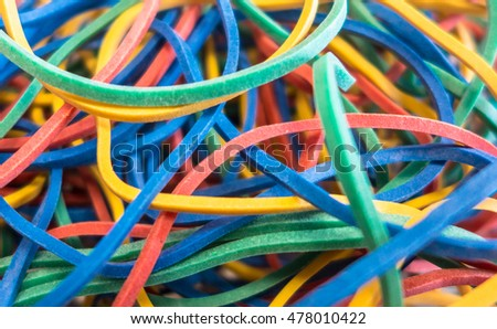 Colored rubber bands - close up view