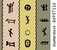 colored seamless texture with petroglyphs. raster version - stock