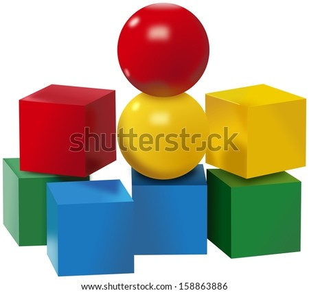 Colored set of plastic balls and cubes toys - stock photo
