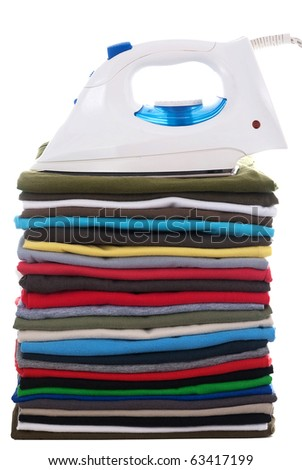 colored shirts and electric iron isolated on white background - stock photo