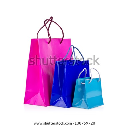 Colored shopping bags on a white background.